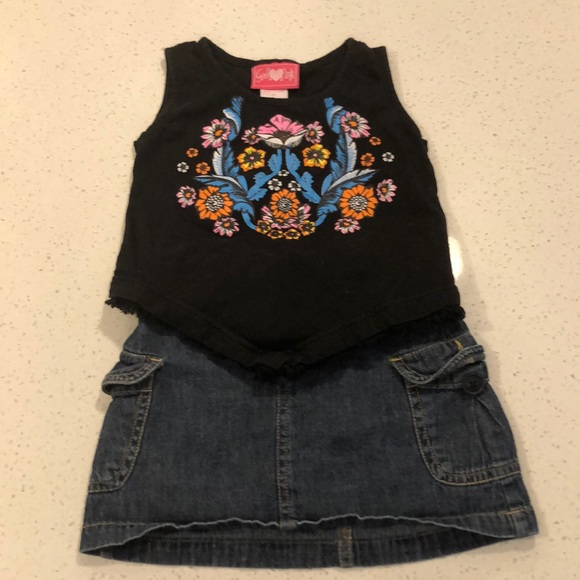 Children's Place Other - Black sleeveless with fringe top and Jean skirt